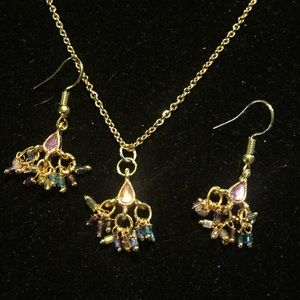 """23"""" gold tone crystal necklace earrings set"""